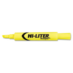 HI-LITER Desk Style Highlighter, Chisel Tip, Fluorescent Yellow Ink, 12/Pk