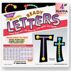 TREND Ready Letters Alpha-Beads Letter Combo Pack, Black,Multiple Colors, 4