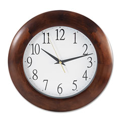 "UNV 10414 Universal Deluxe 12-3/4"" Round Wood Clock UNV10414"