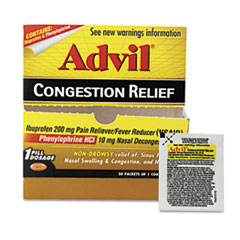 Advil Congestion Relief, 1 per Pack, 50 Packs/Box