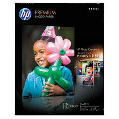 HP Premium Photo Paper, 64 lbs., Soft-Gloss, 8-1/2 x 11, 15 Sheets/Pack