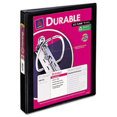 Durable Vinyl Slant D Ring View Binder, 11 x 8-1/2, 1&quot; Capacity, Black