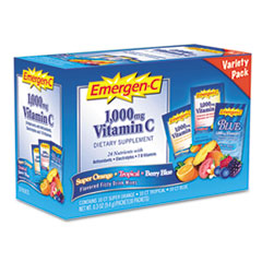 Emergen-C Original Formula, Orange, Tropical, Berry Blue, 0.3 oz Packet, 30/Pack