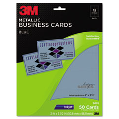 3M Inkjet Metallic Business Cards, 2 x 3 1/2, Blue, 50/PK
