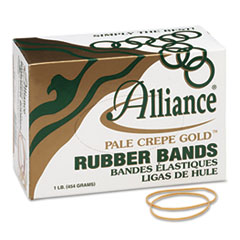 Alliance Pale Crepe Gold Rubber Bands, Size 19, 3-1/2 x 1/16, 1lb Box