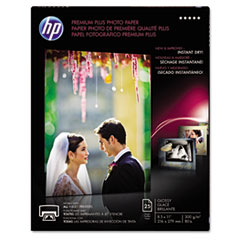 HP Premium Plus Photo Paper, 80 lbs., Glossy, 8-1/2 x 11, 25 Sheets/Pack