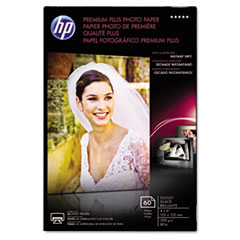HP Premium Plus Photo Paper, 80 lbs., Glossy, 4 x 6, 60 Sheets/Pack
