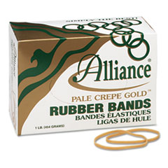 Alliance Pale Crepe Gold Rubber Bands, Size 33, 3-1/2 x 1/8, 1lb Box