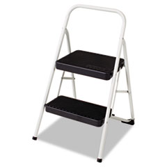 Cosco 2-Step Folding Steel Step Stool, 220lbs, 17 3/8w x 18d x 28 1/8h, Cool Gray