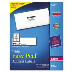 Avery Easy Peel Laser Address Labels, 1-1/3 x 4, White, 3500/Box