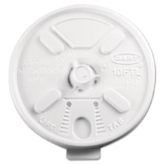 Dart Lift N' Lock Plastic Hot Cup Lids, Fits 10-oz. Cups, White, 100/Bag