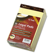 Ampad Gold Fibre Writing Pads, Jr. Legal Rule,5 x 8, Canary, 50-Sheet Pads/Pack, Dozen
