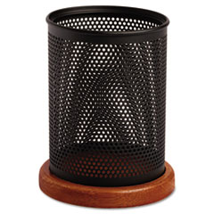 Rolodex Distinctions Metal and Wood Pencil Cup, 3 1/2 dia. x 4 1/2, Black/Cherry