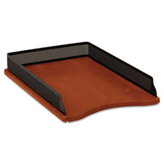 Rolodex Distinctions Self-Stacking Legal Desk Tray, Metal/Wood, Black/Rich Cherry