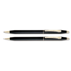 Cross Classic Century Ballpoint Pen & Pencil Set, Black/23 Kt. Gold Accents
