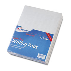 Ampad Evidence Glue Top Narrow Ruled Pads, Ltr, White, 50-Sheet Pads/Pack, Dozen