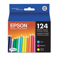 Epson T124520 (124) Moderate Capacity Ink, Cyan, Magenta, Yellow, 3/Pk