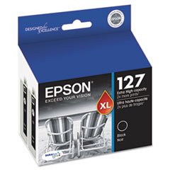 Epson T127120D2 (127) Extra High-Yield Ink, Black, 2/Pack