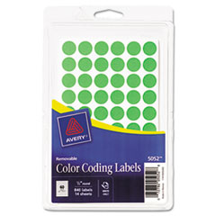 Avery Removable Self-Adhesive Color-Coding Labels, 1/2in dia, Neon Green, 840/Pack