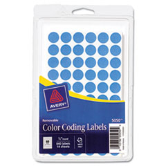 Avery Removable Self-Adhesive Color-Coding Labels, 1/2in dia, Light Blue, 840/Pack