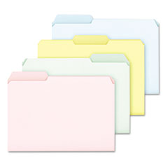 Ampad Pastel Color File Folders, 1/3 Cut Top Tab, Letter, Assorted, 100/Box