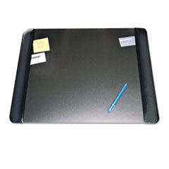 Artistic Executive Desk Pad with Leather-Like Side Panels, 24 x 19, Black