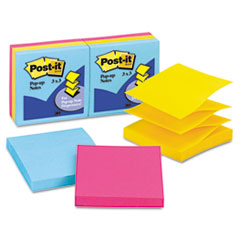 Post-it Pop-up Notes Ultra Pop-Up Refills, 3 x 3, Three Ultra Colors, 6 100-Sheet Pads/Pack