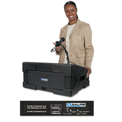 AmpliVox Amplipod Portable Podium PA System, 50-Watt Multimedia Amplifier w/3 Mic Inputs