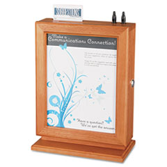 Safco Customizable Wood Suggestion Box, 10 1/2 x 13 x 5 3/4, Cherry