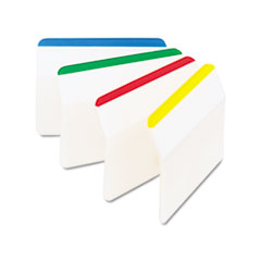 Post-it Tabs Angled Tabs, 2 x 1 1/2, Striped, Assorted Primary Colors, 24/Pack