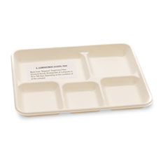 NatureHouse Biodegradable/Compostable Bagasse Food Trays, 5-Compartment, White, 400/Carton