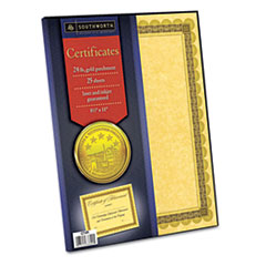 Southworth Parchment Certificates, Gold w/Gld-Brown Border, 24 lbs., 8-1/2 x 11, 25/Pack