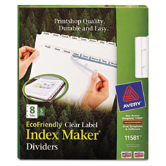 Avery 100% Recycled Index Maker Dividers, White 8-Tab, 11 x 8-1/2, 5 Sets/Pack