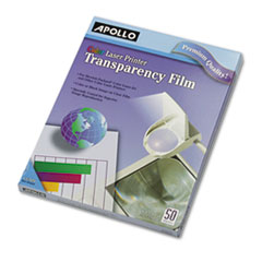 Apollo Color Laser Printer/Copier Transparency Film, Letter, Clear, 50/Box