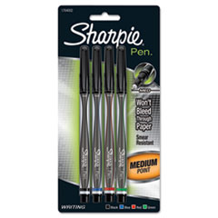 Sharpie Plastic Point Stick Permanent Water Resistant Pen, Assorted Ink, Medium, 4/Pack