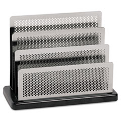 Rolodex Mini Sorter, Three Stepped Sections, 7 1/2 x 3 1/2 x 5 3/4, Metal/Black