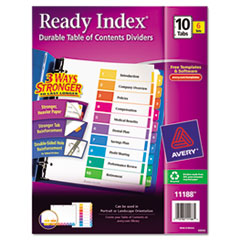Avery Ready Index Contemporary Contents Divider, 1-10, Multicolor, Letter, 6 Sets