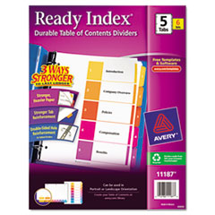 Avery Ready Index Contemporary Contents Divider, 1-5, Multicolor, Letter, 6 Sets