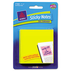 Avery See-Through Sticky Notes, 3 x 3, 50 Sheets, Yellow, 5/Pack