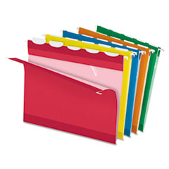Pendaflex Ready-Tab Lift Tab Reinforced Hanging Folders, 1/5 Tab, Letter, Asst, 25/Box