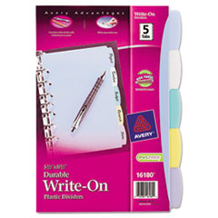 Avery Translucent Multicolor Write-On Dividers, 5-Tab, 8-1/2 x 5-1/2, 1 Set