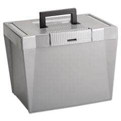 Pendaflex Portable File Storage Box, Letter, Plastic, 13 1/2 x 10 1/4 x 10 7/8, Steel Gray