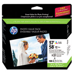 HP 57, (CR685AN) Tri-color/58 Photo Original Ink Cartridges w/Photo Paper