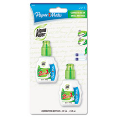 Paper Mate Liquid Paper 2-in-1 Correction Combo, 22 ml Bottle, White, 2/Pack