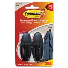 Command Designer Hooks, Plastic, Black, 2 Hooks with 4 Adhesive Strips per Pack