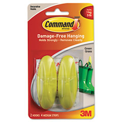 Command Designer Hooks, Plastic, Green Grass, 2 Hooks with 4 Adhesive Strips per Pack