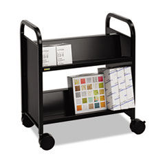 Bretford Steel Slant Shelf Double-Sided Book Cart/Stand, 28 x 18 x 33-1/4, Raven Black
