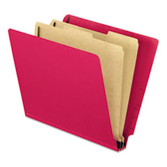 Pendaflex Pressboard End Tab Classification Folders, Letter, 2 Dividers, Red, 10/Box