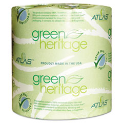 Atlas Paper Mills Green Heritage Toilet Tissue, 4 1/2 x 3 4/5 Sheets, 1-Ply, 1000/Roll, 96 Roll/CT