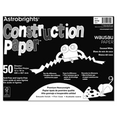 Wausau Paper Astrobrights Construction Paper, 72-lb., 12 x 18, Coconut White, 50 Sheets/Pack